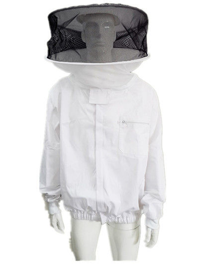 Round Veil White Bee Jacket with Round Hat of Beekeeping Protective Clothing